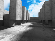 Abstract concrete wall architecture on cloud sky. Background. 3d render illustration stock illustration