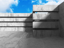 Abstract concrete wall architecture on cloud sky background. 3d render illustration vector illustration