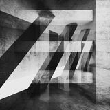 Abstract concrete wall background, monochrome. Abstract grungy concrete wall background with chaotic structures pattern. Black and white square 3d render Royalty Free Stock Photos