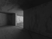 Abstract Concrete Walls Dark Room. Architecture Background Royalty Free Stock Photo