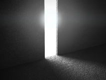Abstract concrete walls room interior with light door exit Stock Photography