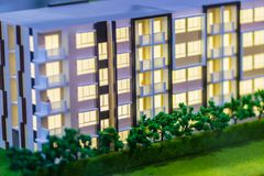 Abstract condominium architectural model of a modern building. Model condominium or hotel, outside view, close up stock photo