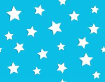 Abstract confetti seamless pattern with white stars scattered on light blue background. Festive holiday vector illustration stock photography