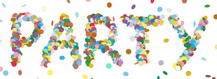 Abstract Confetti Word - PARTY Letter - Colorful Panorama Vector. Illustration with Colored Chads Particle royalty free illustration