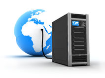 Abstract connect server. Abstract presentation of the internet on earth Stock Photos
