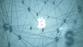 Abstract with connected bitcoin icons Royalty Free Stock Photo