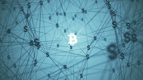Abstract with connected bitcoin icons Stock Images