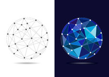 Abstract Connected Blue Globe - Vector Illustration Royalty Free Stock Images