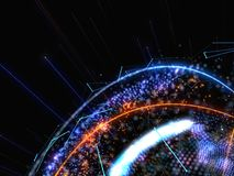 Abstract Connected Bright Dots On Dark Background. Technology Concept. 3D Illustration Stock Image