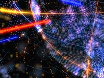 Abstract Connected Bright Dots On Dark Background. Technology Concept. 3D Illustration Royalty Free Stock Photos