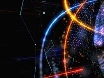 Abstract Connected Bright Dots On Dark Background. Technology Concept. 3D Illustration Stock Photo