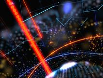 Abstract Connected Bright Dots On Dark Background. Technology Concept. 3D Illustration Royalty Free Stock Photo