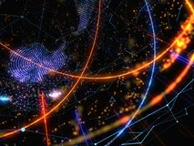 Abstract connected bright dots on dark background. Technology Concept. 3D Illustration Stock Images