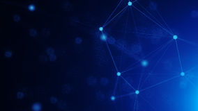 Abstract connected dots on bright blue background Royalty Free Stock Photo