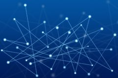 Abstract connected dots on bright blue background, Technology ab Stock Image