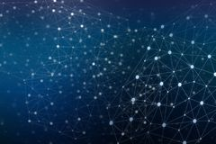 Abstract connected dots communication network on blue background Royalty Free Stock Photos
