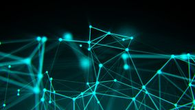 Abstract connection dots. Technology background. Digital drawing blue theme. Network concept. 3d rendered Royalty Free Stock Photo