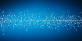 Abstract connection wave with dots and lines 3D rendering. Abstract connection wave with dots and lines on blue background 3D rendering royalty free illustration