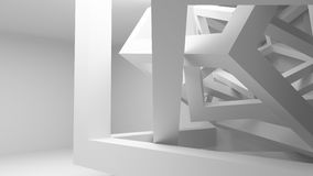 Abstract construction of cubes. White room interior with abstract construction of cubes. 3d render illustration Royalty Free Stock Images
