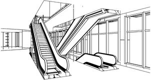 Abstract Construction With Escalator Vector Stock Photography