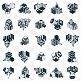 Abstract construction isometric designs collection, vector set. Artisic abstraction illustration Stock Photo
