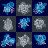 Abstract construction isometric designs collection, vector set. Royalty Free Stock Images