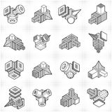 Abstract construction isometric designs, vector set. Artisic abstraction illustration Stock Photos