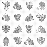 Abstract construction isometric designs, vector set. Stock Images