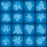 Abstract construction isometric designs, vector set. Stock Photos