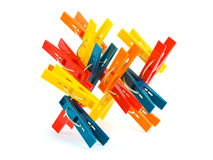 Abstract construction made of clothespins Royalty Free Stock Image