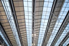 Abstract construction Steel glass roof frame, Concept of human engineering royalty free stock photos