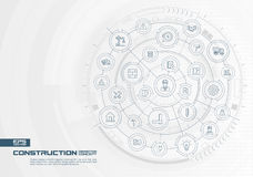 Abstract construction technology background. Digital connect system with integrated circles, thin line icons. Royalty Free Stock Photos