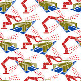 Abstract constructionism seamless pattern automobile production Royalty Free Stock Photos