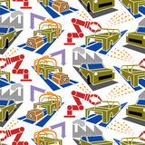 Abstract constructionism seamless pattern automobile production Royalty Free Stock Photo