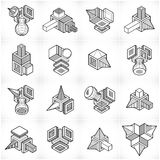 Abstract constructions vector set, dimensional designs collectio Royalty Free Stock Photo