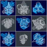 Abstract constructions vector set, dimensional designs collectio Stock Photography