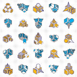 Abstract constructions vector set, dimensional designs collectio Royalty Free Stock Photos