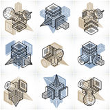 Abstract constructions vector set, dimensional designs collectio Stock Image