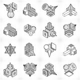 Abstract constructions vector set, dimensional designs collectio Stock Photos