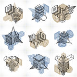 Abstract constructions vector set, dimensional designs collectio Royalty Free Stock Images