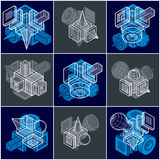 Abstract constructions vector set, dimensional designs collectio Royalty Free Stock Photography