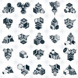 Abstract constructions vector set, dimensional designs collectio Stock Photo