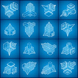 Abstract constructions vector set, dimensional designs collectio Stock Images