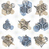 Abstract constructions vector set, dimensional designs collectio Royalty Free Stock Image
