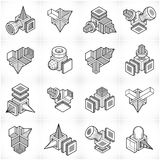 Abstract constructions vector set, dimensional designs collection Stock Images