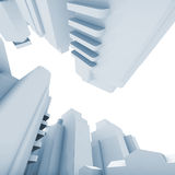 Abstract contemporary buildings on white. Background, blue toned 3d render illustration Royalty Free Stock Photos