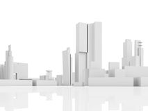 Abstract contemporary city, tall 3d houses. Abstract contemporary cityscape, tall houses, industrial buildings and office towers. 3d render illustration  on Stock Photography