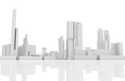 Abstract contemporary cityscape, 3 d builds. Abstract contemporary cityscape, houses, industrial buildings and office towers. 3d render illustration  on white Royalty Free Stock Photography
