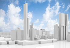 Abstract contemporary cityscape over blue sky. Tall houses, industrial buildings and office towers. 3d render illustration isolated on white stock illustration