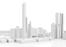 Abstract contemporary cityscape, tall houses. Industrial buildings and office towers. 3d render illustration  on white Royalty Free Stock Image